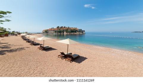 BUDVA, MONTENEGRO - JUNE 04, 2017: Sveti Stefan, small island and luxury resort in Budva, Montenegro. Balkans, Adriatic sea, Europe.
