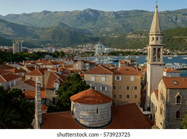 Budva, Montenegro - June 26, 2016: Top view on the old town of Budva on June 26, 2016 in Budva, Montenegro