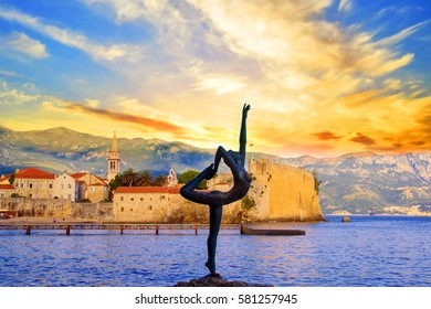 BUDVA, MONTENEGRO - MAY 11: Beautiful view of the sculpture Ballerina Dancer of Budva at sunset. MAY 11, 2016 in Budva.