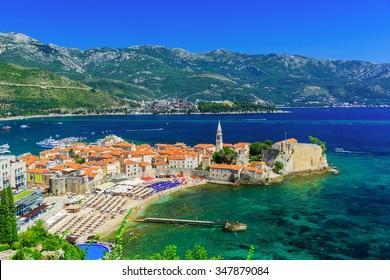 Budva, Montenegro. Panoramic view of the old town .