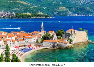 Budva, Montenegro. Panoramic view of old town.