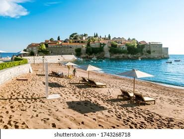 Budva.Montenegro.June 4, 2015.island-hotel of Sveti Stefan in Montenegro on a sunny summer day.