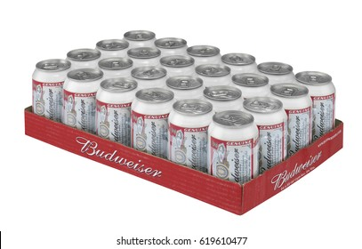 BUDWEISER BEER CANS IN TRAY, TAKEN IN CLECKHEATON, WEST YORKSHIRE, UK, 18TH SEPTEMBER 2008