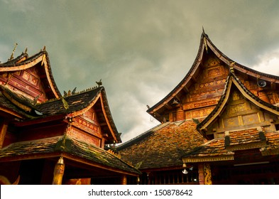 Bueatiful architecture in Ancient buddhist temple , Xishuangbanna, Sipsongpanna, or Sibsongbanna in the south of Yunnan province, People's Republic of China.