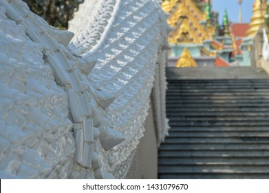 Bueatiful handmade architecture on steps of a temple