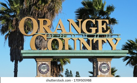 Buena Park, California, United States - April 15, 2020. Welcome sign for the entrance to Orange County, California.