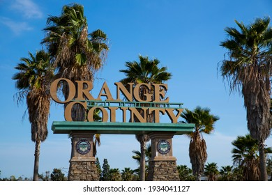 Buena Park, California, United States - March 8, 2021. Welcome sign for the entrance to Orange County, California.