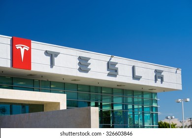 BUENA PARK, CA/USA - OCTOBER 10, 2015: Tesla Motors automobile dealership. Tesla Motors, Inc. is an American automotive and energy storage company.