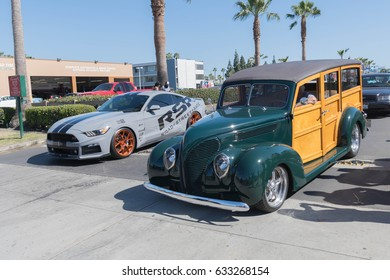 Buena Park, USA - April 30, 2017: Ford Woody Wagon on display during the Fabulous Fords Forever