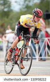 "BUENA VISTA, CO - AUGUST 22: Tejay van garderen races in US Pro Cycling Challenge on August 22, 2012 in Buena Vista, CO. The ""Queens Stage"" challenges 131 miles. Van Garderen is stage 2 winner."