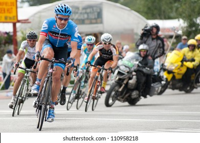 """BUENA VISTA, CO - AUGUST 22: Tom Danielson leads in US Pro Cycling Challenge on August 22, 2012 in Buena Vista, CO. The """"Queens Stage"""" challenges 131 miles. Danielson is stage 3 winner."""