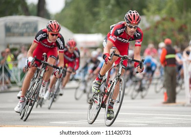 """BUENA VISTA, CO/USA - AUGUST 22: George Hincapie (rt) races in US Pro Cycling Challenge on August 22, 2012 in Buena Vista, CO. The """"Queens Stage"""" challenges 131 miles from Gunnison to Aspen CO."""