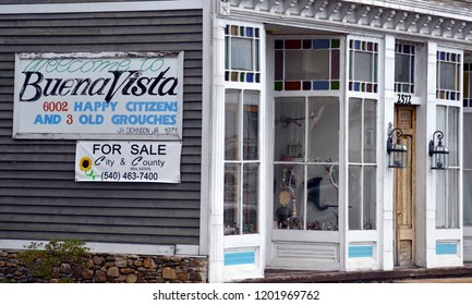 Buena Vista, Virginia / USA - August 22, 2016: The welcome sign to Buena Vista, Virginia, a small town that believes in truth in advertising, August 22, 2016.