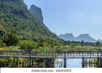 Bueng Bua Wood Boardwalk. Sam Roi Yot District, Thailand. 6. Jan 2015. View from the wooden walkway at the Louts lake in Sam Roi Yot national park.