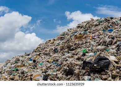 BUENGKAN PROVINCE, THAILAND-JUNE 5 2018, Waste from household in waste landfill. Waste disposal in dumping site in THAILAND