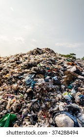 BUENGKHAN PROVINCE, THAILAND - JANUARY 13: Plastic and Other Waste in Municipal waste disposal open dump process.  Dump site at Buengkhan Province on JANUARY 13 , 2016 in BUENGKHAN PROVINCE THAILAND