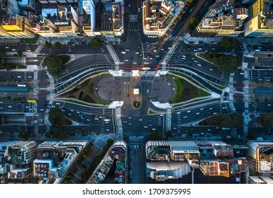 Buenos Aires - 07,15,2019 Aerial shot of the obelisk and the Plaza de la Republica in Buenos Aires at sunset