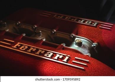 Buenos Aires 2016: Ferrari V8 engine. Red colour. Brand logo.
