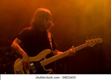 BUENOS AIRES - APRIL 3:  Opeth bassist Martin Mendez performs onstage at THE END Theater April 3, 2009 in Buenos Aires, Argentina.