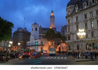BUENOS AIRES - APRIL 30: Night view of the May Square (Plaza de Mayo) in Buenos Aires, Argentina, 30 April, 2014.