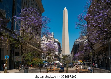 BUENOS AIRES, ARGENTINA - 02 DEC: The Obelisk (El Obelisco), the most recognized landmark in the capital on Dec 02, 2015 in Buenos Aires, Argentina.