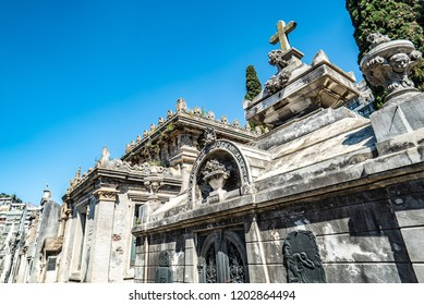 Buenos Aires, Argentina - 03 Octubre, 2018: Famous La Recoleta Cemetery in Buenos Aires that contains the graves of notable people, including Eva Peron, presidents of Argentina, Nobel Prize winners