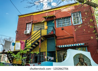 Buenos Aires, Argentina - 04 Octubre, 2018: houses in the tourist area of la boca in Argentina
