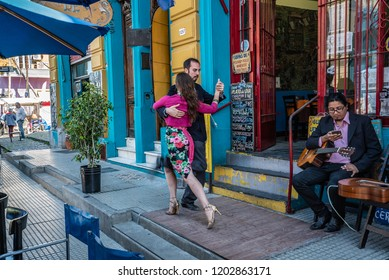 Buenos Aires, Argentina - 04 Octubre, 2018: tango in the tourist area of la boka in Argentina