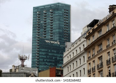 """Buenos Aires, Buenos Aires / Argentina - 06-06-2019 : Building of the company WeWork in Buenos Aires in the """"Bellini"""" Tower of the Retiro neighborhood."""
