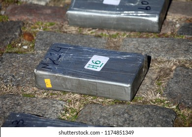 Buenos Aires, Buenos Aires / Argentina; 08-21-2018 : Brick cocaine seized in a police operation against drug trafficking in Buenos Aires.