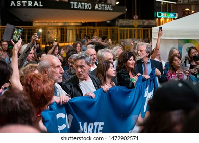 Buenos Aires, Argentina - 10/29/2018: Actors at ECA (encounter of science and art), an event against the government policies of Macri