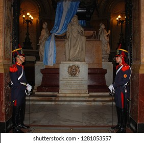 BUENOS AIRES ARGENTINA 11 25 2011: Metropolitan Cathedral  the Jose de San Martin grave vault. The final resting place of the liberator of Argentina is guarded around the clock by two soldiers.