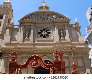 BUENOS AIRES, ARGENTINA 11 25 2011: Basilica Nuestra Senora de la Merced, Argentina. Construction of the Church of Nuestra Senora de la Merced began in 1733 and was completed in 1779 by Andre Bianc