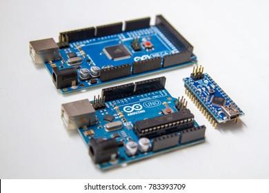 Buenos Aires / Argentina - 12 29 2017: Arduino Uno, Arduino Mega and Arduino Nano boards micro controllers