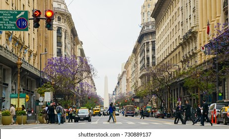 Buenos Aires, Argentina - 15 November 2016. Grand boulevards in Buenos Aires are empty as high inflation and cost of living reduces spending and international tourism.