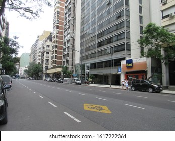 Buenos Aires, Argentina - 1st January 2020: Callao Avenue's buildings and constructions along its way. This important Avenue penetrates into de Recoleta neighborhood and works as an inportant axis.