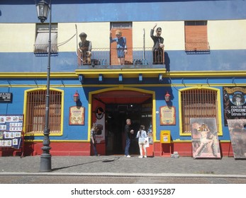 Buenos Aires, Argentina, 20 March, 2017. Figures of Gardel, Evita and Maradona at Caminito Art Street in La Boca neighborhood, Buenos Aires, Argentina on 20 March, 2017.