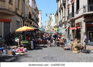 Buenos Aires, Argentina - 2018-02-04 : Feria De San Pedro Telmo, or the San Telmo fair a or market held on sundays in Buenos Aires, Argentina