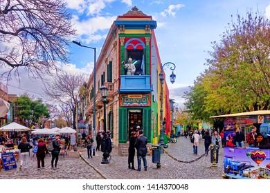 Buenos Aires, Argentina - 2019.05.22. - A colorful building in El Caminito