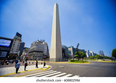 Buenos Aires, Argentina - 29 Nov, 2016: The Obelisk (El Obelisco), the most recognized landmark in the Capital Federal. People can be seen on foreground.