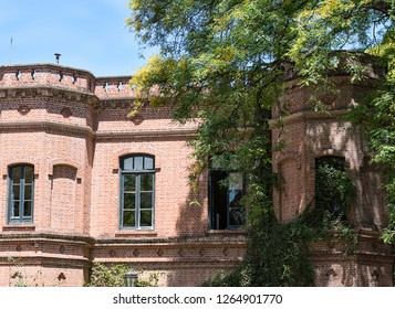 Buenos Aires, Argentina, 5.12.2018. Big house in Botanical Garden or Jardin Botanico in Palermo district