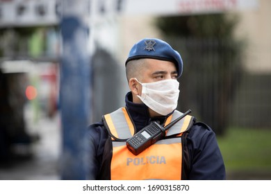 Buenos Aires, Argentina - April 02, 2020: Unidentified people of the police force controlling a city under quarantine in La Matanza In Buenos Aires, Argentina