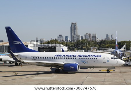 BUENOS AIRES, ARGENTINA - APRIL 1, 2015: Aerolineas Argentinas Boeing 737 on the apron at Jorge Newbery Airfield in Buenos Aires. It is the the nation's busiest airport by passenger traffic
