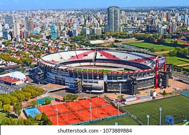 Buenos Aires, Argentina - April 16, 2018: River Plate, Monumental Stadium Antonio Vespucio Liberti. aerial view and from the field of play