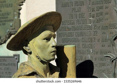 BUENOS AIRES, ARGENTINA – APRIL 21: Located in the historic Recoleta Cemetery, the Paraguayan War Monument honors soldiers who fought in the Paraguayan War April 21, 2019 in Buenos Aires, Argentina