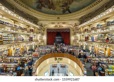 BUENOS AIRES, ARGENTINA, - APRIL, 22, 2019: El Ateneo Grand Splendid, a 100-year old theatre that has been converted into a bookshop in Buenos Aires, Argentina.