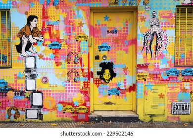 BUENOS AIRES, ARGENTINA - APRIL 4: Colorful street art in Palermo district, 4 April 2014, Buenos Airess. The walls of the Argentine city enlivened by murals, painted figures, graffiti and stencils