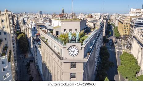 "Buenos Aires, Argentina; April 7 2019: Aerial view with a drone of Diagonal Sur and Bolivar street and ""Edificio de los colosos"" (Colossi Building), Buenos Aires, Argentina."