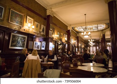 BUENOS AIRES, ARGENTINA - AUGUST 17, 2017: The old Tortoni cafe on August 17, 2017 in the city of Buenos Aires, Argentina. Opened in 1858, it moved to its present location in 1880.