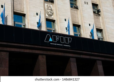 Buenos Aires, Argentina. August 19, 2019. Federal Administration of Public Income sign (Administracion Federal de Ingresos Publicos) usually shortened as AFIP is the revenue service of Argentina